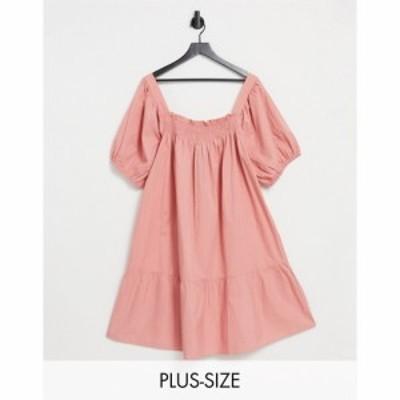 インフルエンス Influence Plus レディース ワンピース ミニ丈 ワンピース・ドレス Puff Sleeve Cotton Poplin Mini Dress In Teracotta