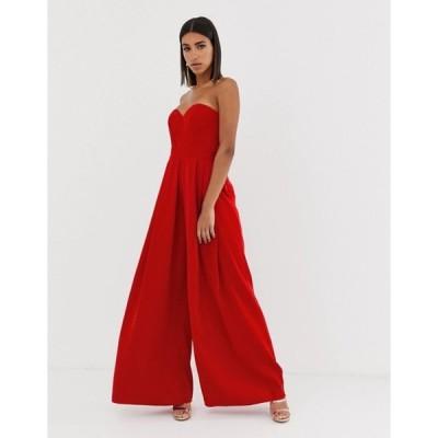 バリアーノ レディース ワンピース トップス Bariano sweetheart wide leg maxi jumpsuit in red