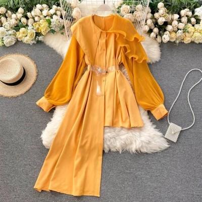 INSスタイリッシュなレディースシャツ2021春の不規則なシャツベルト付きウェーブフリルブラウス女性無地パッチワークシフォンロングトップス
