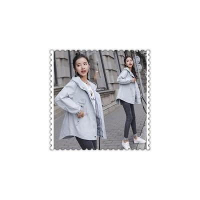 トレンチコートレディーススプリングコート秋春大きいサイズアウターフード付き20代30代40代ファッション