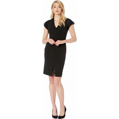 ベッツィ ジョンソン Betsey Johnson レディース ワンピース ワンピース・ドレス Scuba Crepe Dress with Lace Detail Black