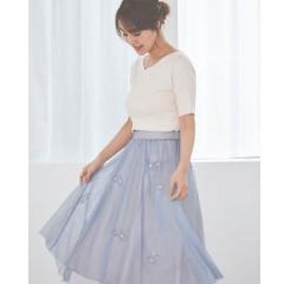 LAISSE PASSEチュール刺繍スカート【お取り寄せ商品】