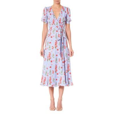 キャロライナヘレラ レディース ワンピース トップス Floral Print Short-Sleeve Wrap Dress