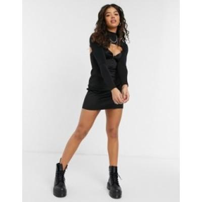 エイソス レディース ワンピース トップス ASOS DESIGN peekaboo corset mini dress in black Black