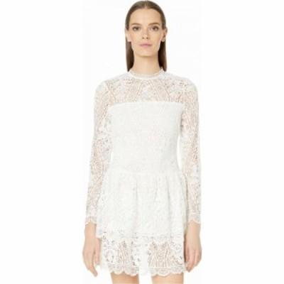 モニーク ルイリエ ML Monique Lhuillier レディース ワンピース ワンピース・ドレス Long Sleeve Dress with Scalloped Hem Detail Whit
