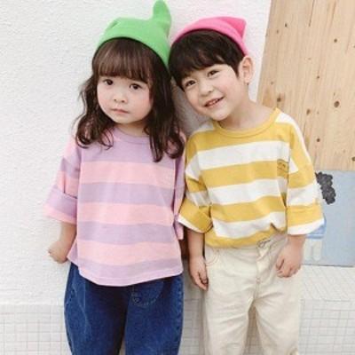 韓国子供服 キッズ 女の子 男の子 子供 Tシャツ 春秋 80 90 100 110 120cm ティシャツ 可愛い ガーリー カジュアル ナチュラル シンプル