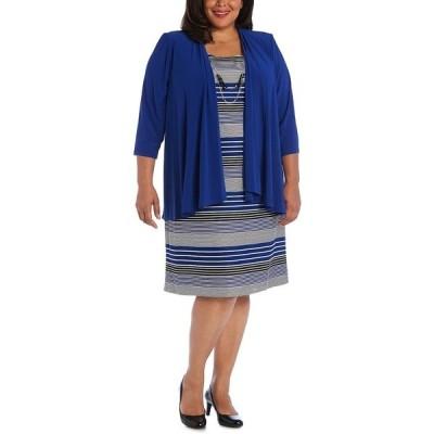 アールアンドエムリチャーズ ワンピース トップス レディース Plus Size Striped Dress & Draped-Front Jacket Royal