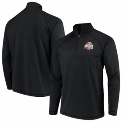 J America Sportswear ジェイ アメリカ スポーツウェア スポーツ用品  Ohio State Buckeyes Heathered Black Micro Stripe Quarter-Zip P