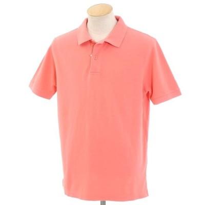 バーニーズ ニューヨーク BARNEYS NEW YORK コットン鹿の子 半袖ポロシャツ サーモンピンク S