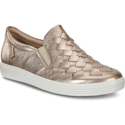エコー ECCO レディース スリッポン・フラット スニーカー シューズ・靴 Soft 7 Woven Slip-On Sneaker Warm Grey Leather