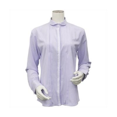 【トーキョーシャツ】 ウィメンズ 長袖 形態安定 デザインシャツ ラウンド衿 パープルストライプ レディース パープル S TOKYO SHIRTS