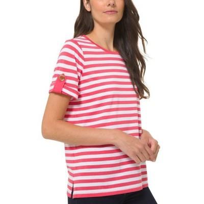 マイケルコース カットソー トップス レディース Striped Roll-Sleeve Shirt Geranium Pink