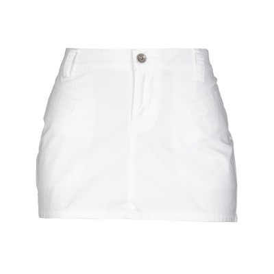 YOOX - CALVIN KLEIN JEANS ミニスカート ホワイト 27 コットン 97% / ポリウレタン 3% ミニスカート