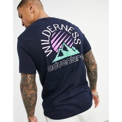 エイソス ASOS DESIGN メンズ Tシャツ トップス Organic T-Shirt In Navy Organic Cotton With Mountain Back Print ネイビー