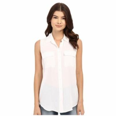 エキプモン EQUIPMENT レディース ノースリーブ トップス Sleeveless Slim Signature Top Bright White
