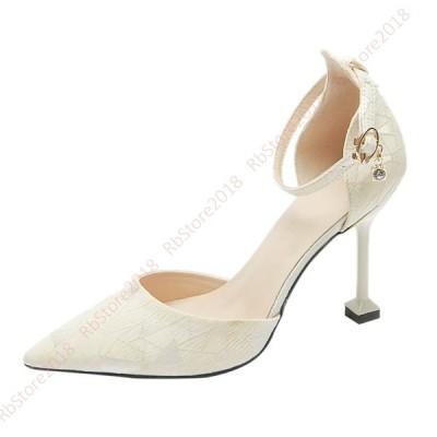ポインテッドトゥ ハイヒール アンクルストラップ 幅広 柄 パンプス ヒール 痛くない 結婚式 ピンヒール 小さいサイズ 靴 黒 疲れない 歩きやすい リクルート
