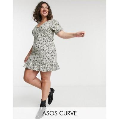エイソス ASOS Curve レディース ワンピース Vネック Asos Design Curve V Neck Mini Tea Dress With Button Through In Mono Floral Print