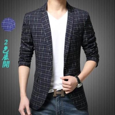 テーラード ジャケット メンズ FIMDY15032 ブレザー ビジネス アウターコー 1ボタン チェック 細身 紳士服 フォーマル カジュアル 20