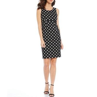 カスパー レディース ワンピース トップス Polka Dot Printed Scuba Crepe Empire Seamed Sleeveless Sheath Dress Black/White