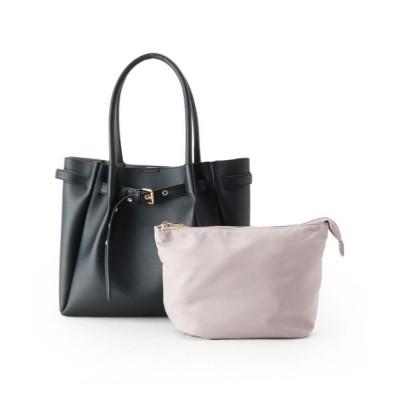 pink adobe/ピンクアドベ ベルト飾りポーチ付A4トートバッグ ブラック(019) 00