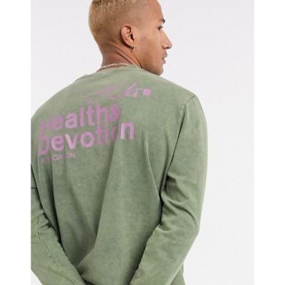 エイソス メンズ Tシャツ トップス ASOS DESIGN long sleeve t-shirt with health and devotion print in washed khaki Vetivier
