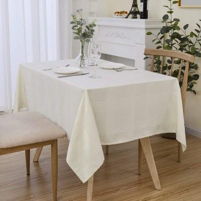 長方形 テーブルクロスアイボリーホワイトチェック、汚れ防止耐熱チェック長方形 テーブルカバーキッチンダイニングテーブルの装飾(137 x 220cm)