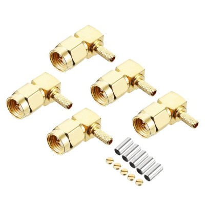 uxcell RF同軸アダプタコネクタ 5個入り ゴールドトーン直角SMAオスジャック