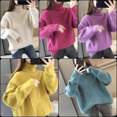 カジュアル系 ハイネックセーター タートルネック 長袖 かぎ編み ニット 大人可愛い 冬 お出かけに