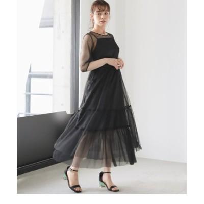 ドットチュールロングドレス