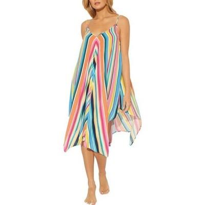 ブルーロッドビーティ レディース ワンピース トップス Color Bomb Handkerchief Hem Stripe Swim Cover Up Dress