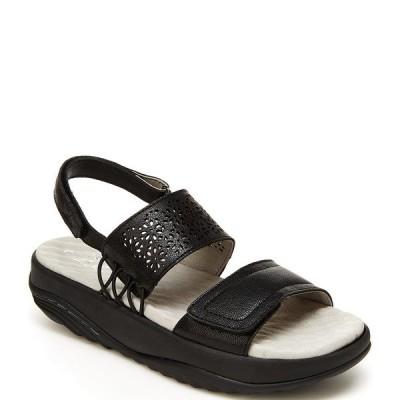 ジャンブー レディース サンダル シューズ Alba Leather Banded Wedge Sandals Black