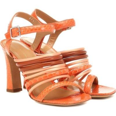 ドリス ヴァン ノッテン Dries Van Noten レディース サンダル・ミュール シューズ・靴 Snakeskin and leather sandals Peach
