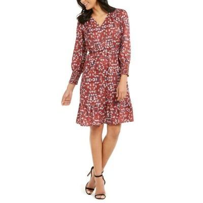 ニューヨークコレクション ワンピース トップス レディース Petite Printed Smocked-Sleeve Dress Rust