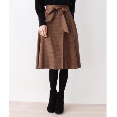 スカート 【823カラーWEB限定】【洗える・42(LL)WEB限定サイズ】ガンクラブタックフレアスカート