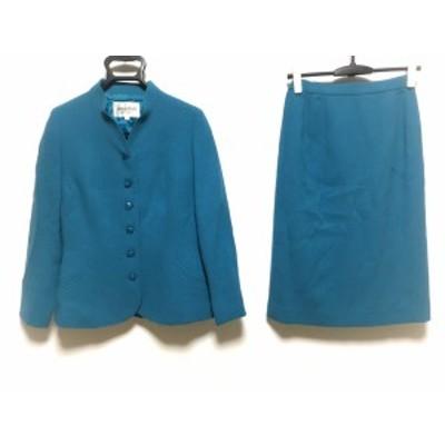 ジュンアシダ JUN ASHIDA スカートスーツ サイズ9 M レディース グリーン 春・秋物/肩パッド【中古】20210109