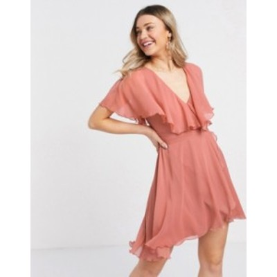 エイソス レディース ワンピース トップス ASOS DESIGN cape back dipped hem mini dress in rose Rose