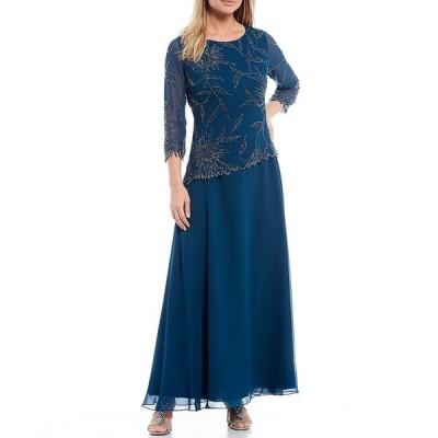 ジェイカラ レディース ワンピース トップス Asymmetrical Beaded Bodice 3/4 Sleeve Chiffon Gown Teal/Multi