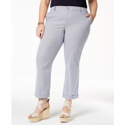 トミー ヒルフィガー カジュアルパンツ ボトムス レディース Plus Size Pinstripe Ankle Pants,  Blue/White