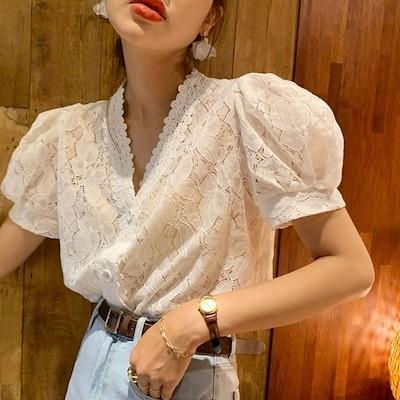 透け感レースブラウス vネック ブラウス 半袖 トップス レディース ボリューム袖 韓国ファッション