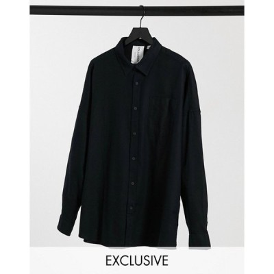 コルージョン メンズ シャツ トップス COLLUSION long sleeve flannel shirt in washed black
