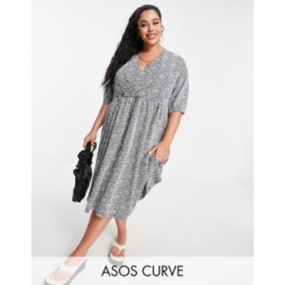 エイソス レディース ワンピース トップス ASOS DESIGN Curve jacquard wrap top midi dress in black and white floral Mono floral