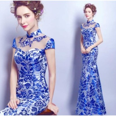 チャイナドレス 大人エレガント 優雅 チャイナ服 色鮮やか ハロウィン仮装 イブニングドレス 宴会 披露宴 タイトスカート