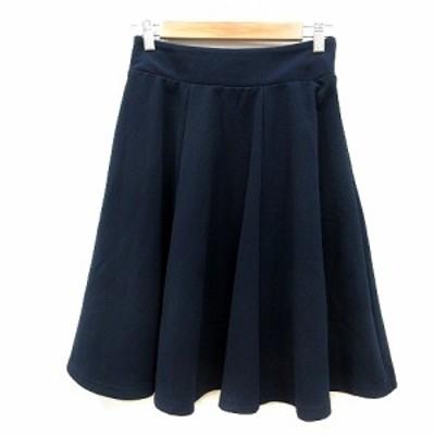 【中古】グースィー goocy フレアスカート ひざ丈 F 紺 ネイビー /MN レディース