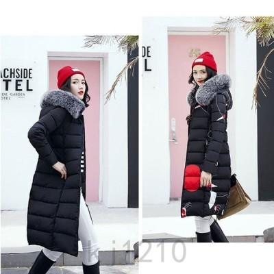 中綿ダウンコートレディース40代ロング丈軽い2019秋冬アウター中綿コート中綿ジャケットダウン風フード付き両側に着用防寒暖かい大きいサイズ