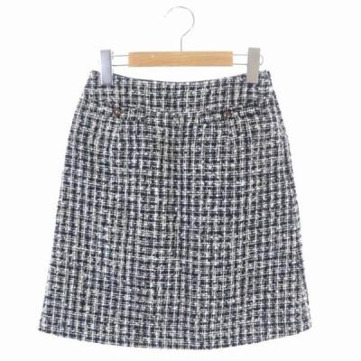 【中古】ナチュラルビューティーベーシック NATURAL BEAUTY BASIC 台形スカート ツイード ミニ XS 黒 グレー ベージュ /KN レディース 【ベクトル 古着】