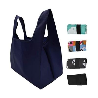 コンビニエコバッグ-ランチバッグ-買い物バッグ-ポケットサイズ-無地ネイビー