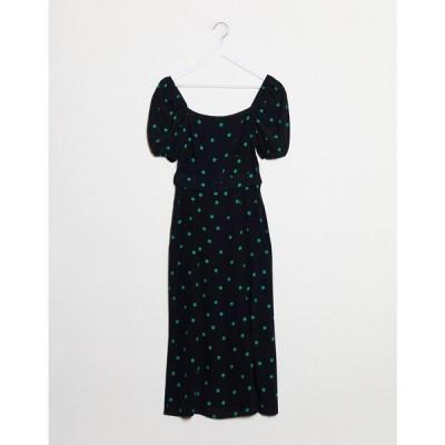 ニュールック New Look レディース ワンピース ミドル丈 ワンピース・ドレス Square Neck Belted Midi Dress In Polka Dot ブラックパターン