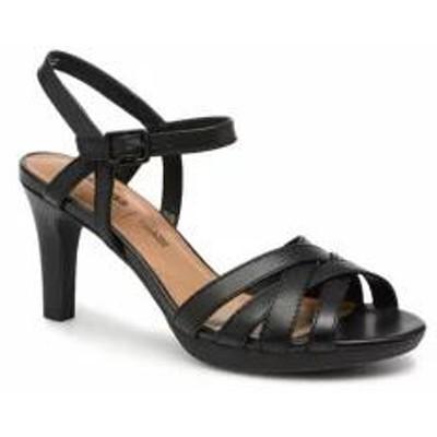 Clarks レディースサンダル Clarks Sandals Adriel wavy Black Black leather
