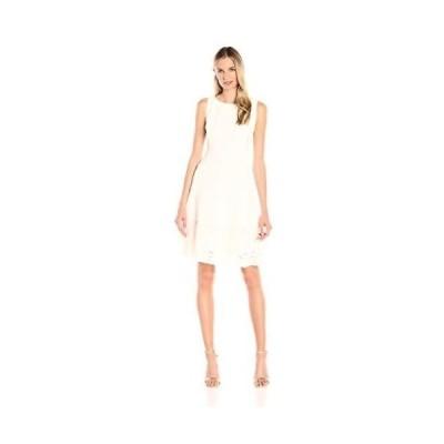 ドレス アンクライン Anne Klein レディース ドレス・ワンピース 604526 Crepe/Lace Combo Boat Neck. White