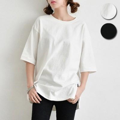 カットソー レディース 体型カバー 大きいサイズ Tシャツ 半袖 トップス 無地 レディースファッション (ゆうパケット送料無料)[郵2]^t288^